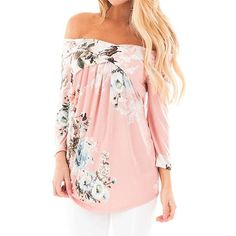 400eb275dfb Chase Secret Womens Casual Off Shoulder 3 4 Sleeve Floral Print Blouses  Tops Shirts XX-large Pink  Chase Secret Womens Floral Printed 3 4 Sleeve  Shirt ...