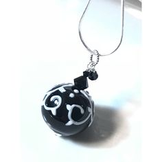 Lovely black white hollow glass bead pendant necklace, black crystals ($26) ❤ liked on Polyvore featuring jewelry, necklaces, black white necklace, beaded pendant necklace, beads jewellery, beaded necklaces and glass bead jewelry
