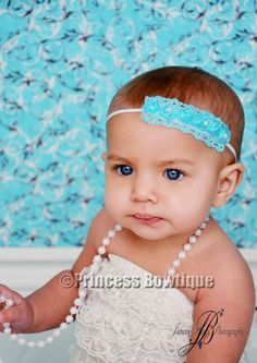 Turquoise Pearl Roses on White Baby Bitty Little Head Band: Buy Baby Headbands & Hair Bows at Princess Bowtique