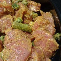 Frühling = Spargel 😊 Feine Schweinefilets mit grünen Spargel in Dill/Hollandaise Marinade...