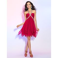 TS Couture® Cocktail Party / Homecoming / Prom Dress - Open Back Plus Size / Petite A-line / Princess Halter Short / Mini Chiffon with Crystal – GBP £ Cheap Wedding Guest Dresses, Cheap Cocktail Dresses, Cocktail Dresses Online, Sexy Cocktail Dress, Sexy Homecoming Dresses, Hoco Dresses, Prom Party Dresses, Mermaid Dresses, Occasion Dresses