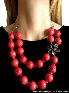 {{The Vintage Collection}} - with Gemstones! ♥ Featuring Authentic Red Coral and a Floral Vintage Broach! Beaded Cuff Bracelet, Beaded Necklace, Pendant Necklace, Red Jewelry, Bullet Jewelry, Jewellery, Gothic Jewelry, Jewelry Necklaces, The Bling Ring