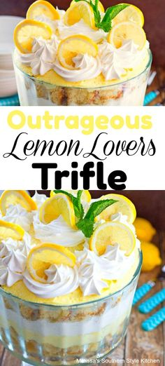 Outrageous Lemon Lovers Trifle is a stunning outrageously delicious dessert for lemon lovers of all ages. It's a citrus extravaganza. Lemon Dessert Recipes, Lemon Recipes, Köstliche Desserts, Sweet Recipes, Delicious Desserts, Pudding Desserts, Orange Trifle Recipes, Tea Recipes, Fruit Recipes