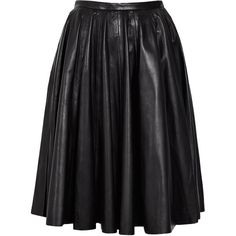 McQ Alexander McQueen Knee Length Full Leather Skirt found on Polyvore