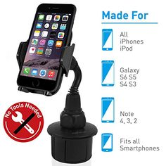 Macally Adjustable Automobile Cup Holder Phone Mount for iPhone 7 7 Plus 6s Plus 6s 5s 5c Samsung Galaxy S7 Edge S6 S5 Note 5 iPod Smartphones MP3 GPS etc (MCUPMP)