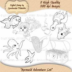 INSTANT DOWNLOAD Mermaid Adventure Digital Stamps. $3.00, via Etsy. http://www.etsy.com/listing/81480264/instant-download-mermaid-adventure