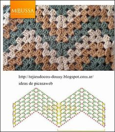This is an awesome zig zag pattern to crochet. You can do this pattern with a treble crochet, a double crochet, or a half-double crochet. Point Granny Au Crochet, Crochet Ripple, Crochet Diy, Crochet Squares, Crochet Motif, Zig Zag Crochet Pattern, Free Pattern, Manta Crochet, Stripe Pattern