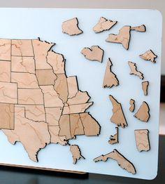 Rivers & Lakes Magnetic Wood USA Puzzle | Art Pieces | Steven Mattern Design + Build | Scoutmob Shoppe |