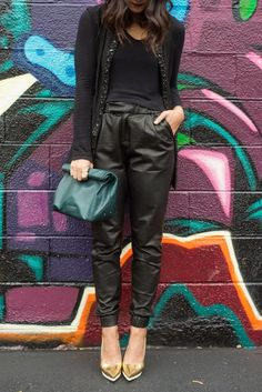 Jogging leather pants and cardigan  Total black outfit