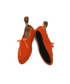 Crocheted house slippers Crochet Slippers , Healthy Booties, Home slippers orange,HALLOWEE... $39