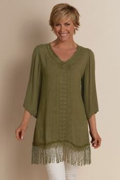 Fringed Gauze Tunic - Gauze Tunic, Fringe Tunic | Soft Surroundings