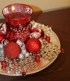 Christmas Candle Centerpiece Red and Silver by PreserveMyMemories