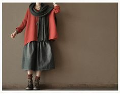 Red Cotton Sweater loose   long sleeve coat by clothingshow, $69.99