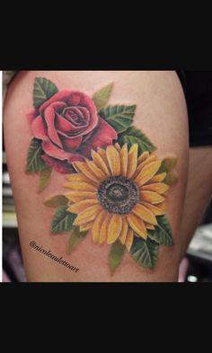 rose and sunflower tattoo Sunflower Tattoo Shoulder, Sunflower Tattoo Small, Sunflower Tattoos, Sunflower Tattoo Design, Rose Tattoo Foot, Rose Drawing Tattoo, Lace Tattoo, Mom Tattoos, Forearm Tattoos