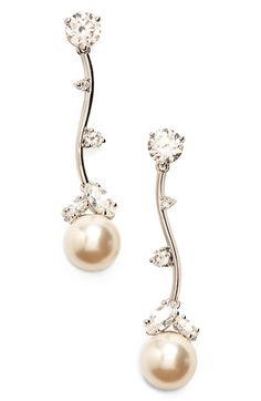 Nadri Faux Pearl Linear Drop Earrings available at #Nordstrom