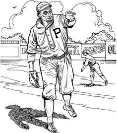 pittsburgh pirate player baseball coloring page purple kitty - Pittsburgh Pirates Coloring Pages
