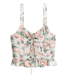 Fitted Short Top | Mint green/floral | Women | H&M US