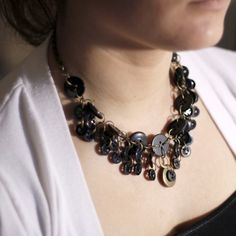 Black Button Necklace by Objects and Subjects