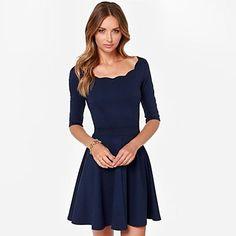meia manga vestido azul plissado das mulheres - BRL R$ 61,53