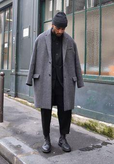Oversized Gray Japanese Style Coat, Urban Street Style, Paris, Men's Fall Winter Fashion.