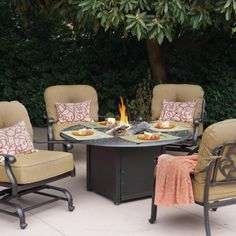 This patio conversation set features the signature floral backs found in the Elisabeth collection and a propane fire pit table. - Darlee Elisabeth Cast Aluminum Patio Conversation Set With Fire Pit Table Fire Pit Table Set, Fire Pit Sets, Fire Pit Furniture, Outdoor Furniture Sets, Furniture Ideas, Wicker Furniture, Furniture Online, Discount Furniture, Outdoor Fire