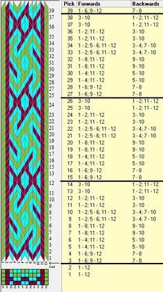 12 tarjetas, 3 colores, repite cada 12 movimientos // sed_469 diseñado en GTT༺❁