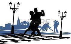 pareja de baile en el tango el amor en el �rea cerca de la luz photo