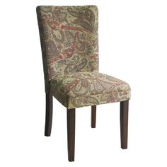 Kinfine Parsons Dining Chair with Mid-Tone Wood - Tan Paisley (Set of 2)