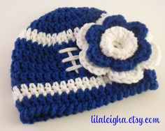 Indianapolis Colts Baby Girl Football Hat & Flower by lilaleigha, $15.50