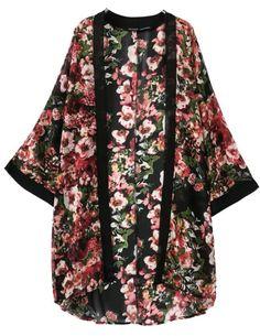 Kimono gasa floral manga larga-negro 16.26