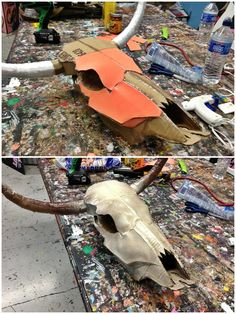Needed a cow skull for a display at my store. Found some cardboard and old plastic wrap and got to work. Skull Decor Diy, Paper Mache Animals, Cardboard Art, Cardboard Sculpture, Paper Mache Crafts, Halloween Disfraces, Animal Heads, Plastic Wrap, Diy Paper