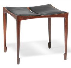 Bernt Petersen; Rosewood and Leather Stool for Wørts, 1960s.