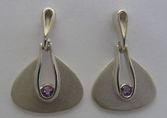 Inspired by Bauhaus Furniture1920s Ola Gorie Silver Earrings Amethyst Boxed