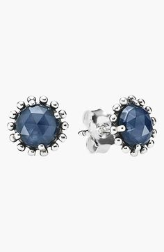 PANDORA 'Midnight Star' Stud Earrings - Rose-cut stones twinkle with deep, dark color from within a pair of silver-beaded earrings.