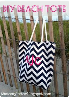 DIY PB Teen inspired chevron beach tote with monogram tutorial - so cute for summer!