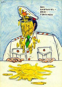 Das Kartoffelbrei-Törtchen (The Creamy Potato Pie), ca. 1987 by J.G.Wind - pie in the face portrait