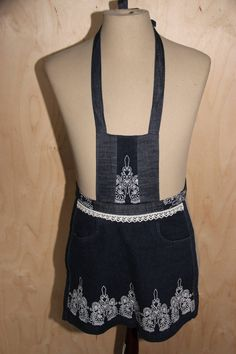 Recycled denim apron with lace and flower print , Denim kitchen apron , Girl's apron Age 6-10 , Repurposed denim , Child Apron , Urban Denim by SecondBirthday on Etsy