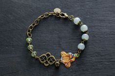 Green and Blue Bell Charm Bracelet with by MusingTreeStudios