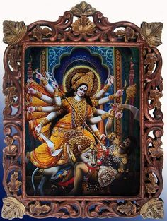 """Durga meaning """"the inaccessible""""[1] or """"the invincible""""; durga)[2] is a popular fierce form of the Hindu Goddess or Devi. She is depicted with multiple (variously,from ten up to thousand) arms,[3] carrying various weapons and riding a ferocious lion. She is often pictured as battling or slaying demons, particularly Mahishasura, the buffalo demon."""