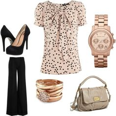 Great outfit for work...plus love the rose gold accessories!