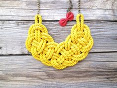Yellow rope necklace Rope knot necklace by NasuKka | Etsy