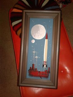 EL GATO GOMEZ PAINTING RETRO OUTER SPACE SCI-FI ROCKET SEATTLE SPACE NEEDLE ART