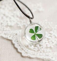 Four Leaf Clover, Dandelion or Flower Necklace