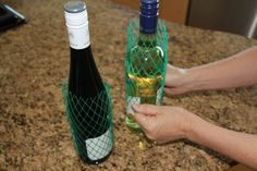 These plastic mesh sleeves will keep your precious wine bottles from noisily knocking into each other. | 37 RV Hacks That Will Make You A Happy Camper