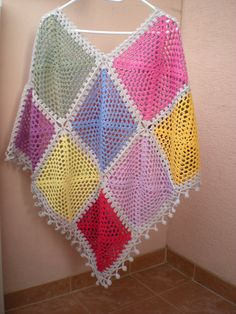 Hippie poncho retro poncho poncho vest wrap colorful by Emmhouse