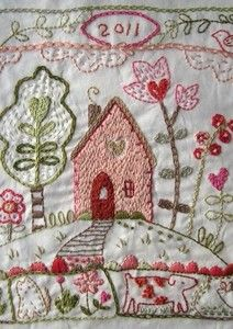 Beautiful stitchery from Charlotte Lyons - this is totally charming!!  For crazy quilt