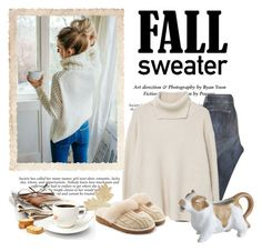 """""""Cozy Fall Sweater & Morning Joe...."""" by conch-lady ❤ liked on Polyvore featuring Current/Elliott, MANGO, Pier 1 Imports and UGG"""