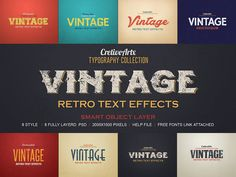 Vintage/Retro Text Effects 3 by creativeartx on Creative Market