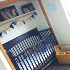 Babies crib in the closet. We'll definitely be doing this. Saves so much room!