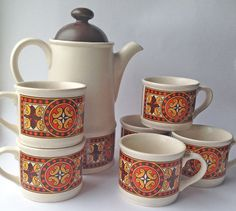 Pottery Coffee Pot Yellow Brown Sturdy Construction Vintage Alfred Meakin Coffee Set 4x Cups & Saucers
